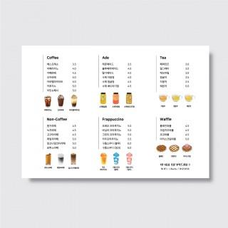 A4,A3 카페 브런치 베이커리 디저트 디자인 일러스트 인쇄 메뉴판 [스노우지/7번]