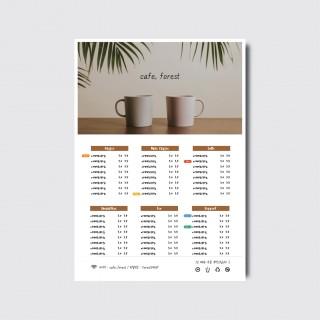A4,A3 카페 브런치 베이커리 디저트 디자인 일러스트 인쇄 메뉴판 [스노우지/17번]