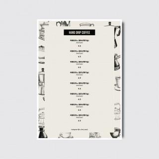 A4,A3 카페 브런치 베이커리 디저트 디자인 일러스트 인쇄 메뉴판 [스노우지/18번]