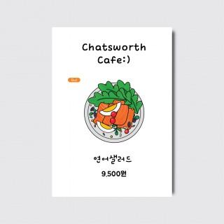 A4,A3 카페 카페 베이커리 샌드위치 샐러드 디자인 일러스트 인쇄 포스터 [스노우지/25번]