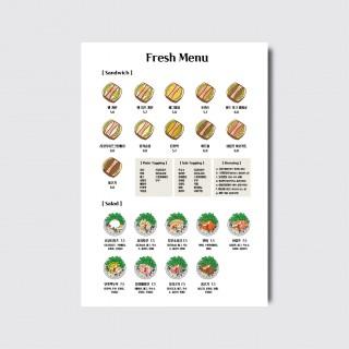 A4,A3 카페 베이커리 샌드위치 샐러드 디자인 일러스트 인쇄 메뉴판 [스노우지/27번]